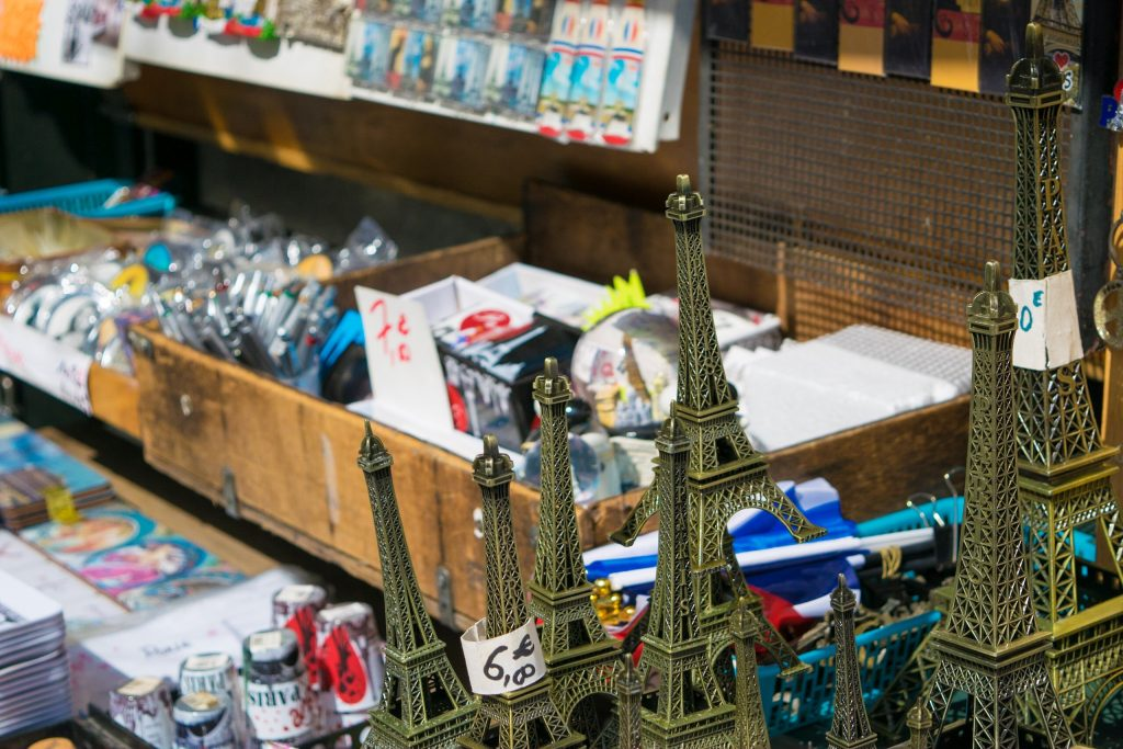 Souvenirs, Eiffel tower, Magnets, Post Cards, Paris , France