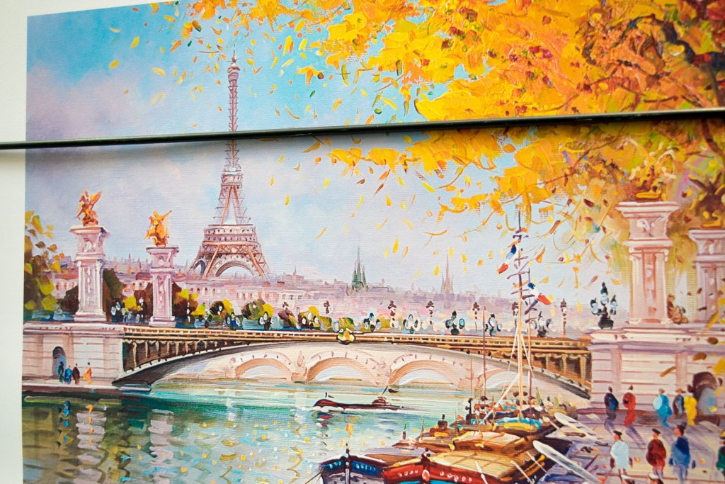 Eiffel Tower in fall, captured by a local artist. Paris, France