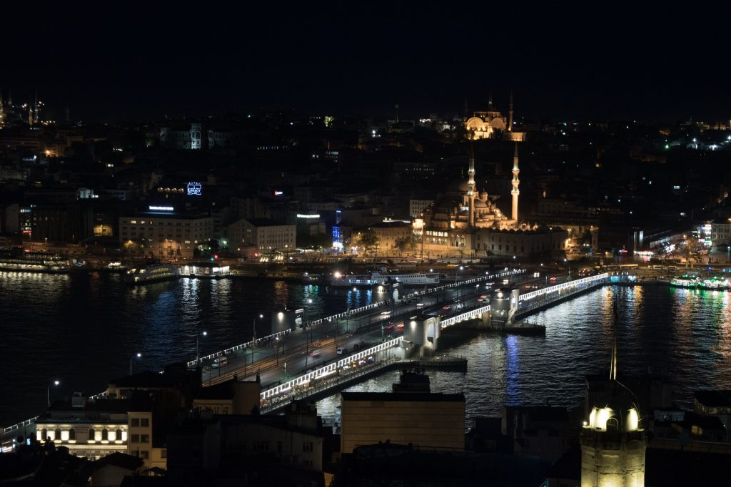 View from the Galata Tower, Beautiful Galata Bridge, Golden Horn and the mosque.