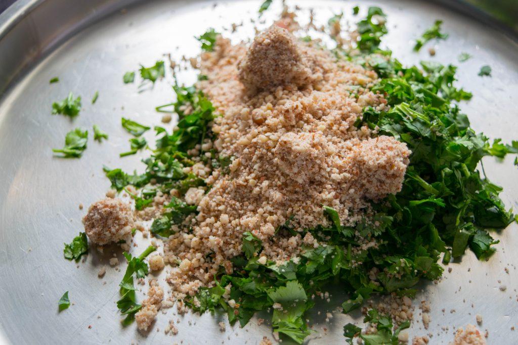 Vegetarian Sandwich Stuffing - Cilantro & Crushed Peanuts - NidhiPatel.com