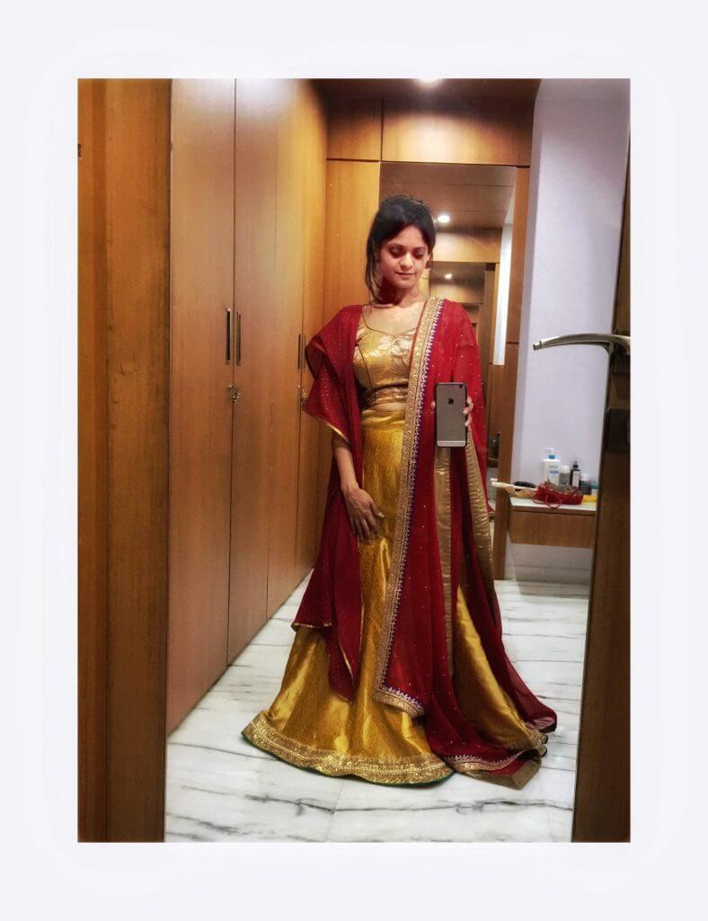Outfit Trail: Yellow brocade lehenga - NidhiPatel.com