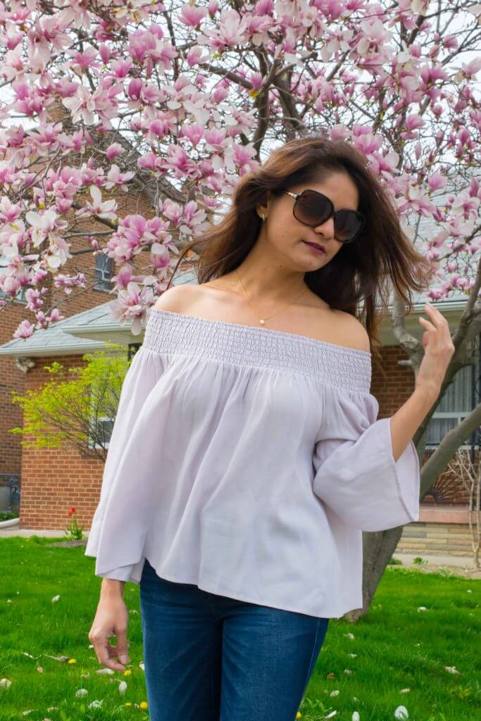 Crepe Off-the-Shoulder Lilac Top