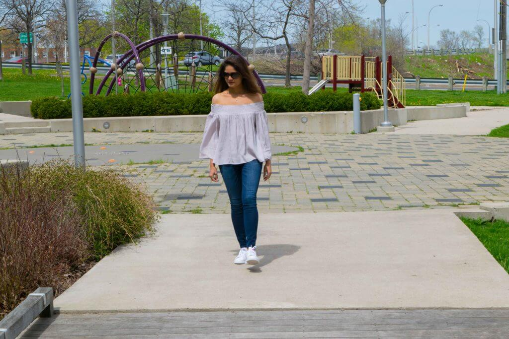 A walk in the park with off-the-shoulder top - NidhiPatel.com
