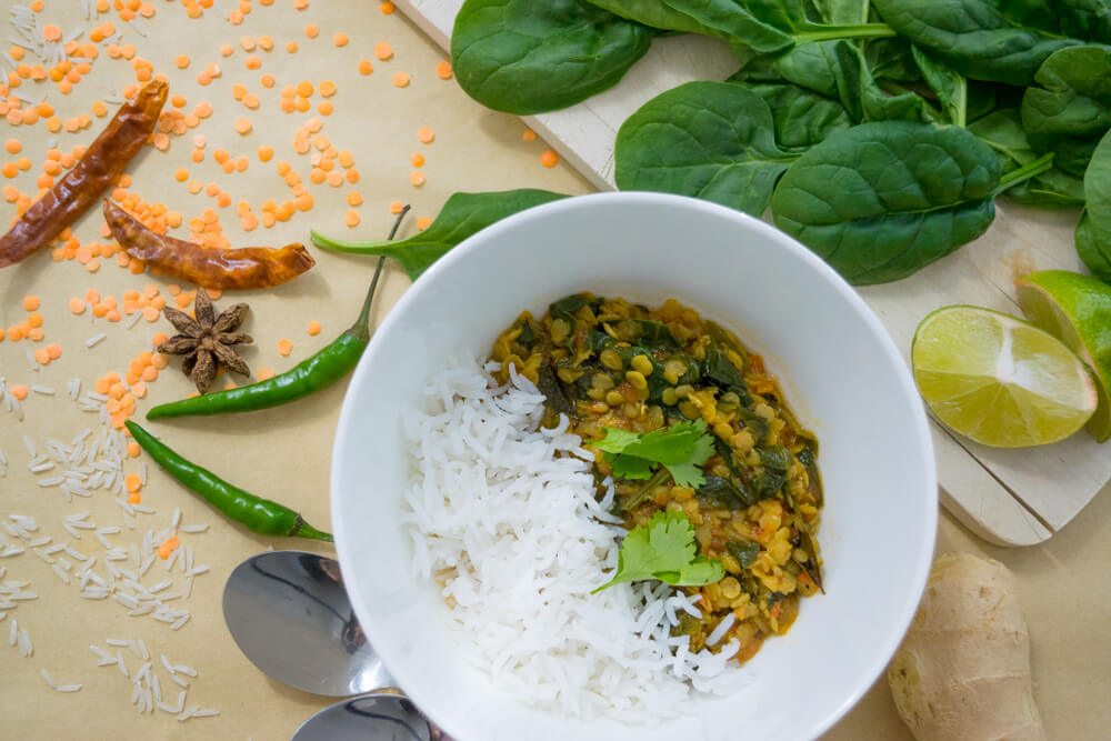 Spinach Masoor Daal with Clove Infused Basmati Rice