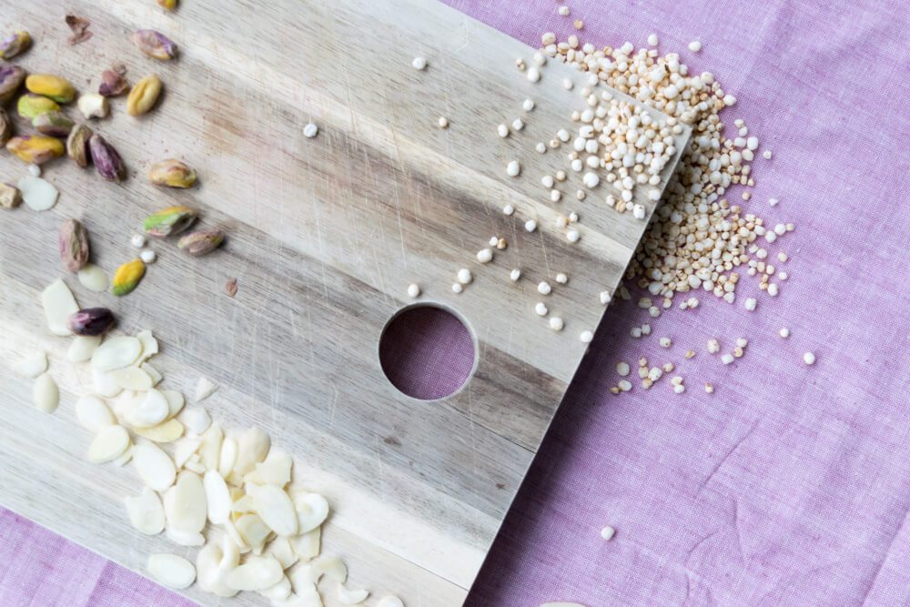 Sliced Almonds, Pistachios, Puffed Quinoa
