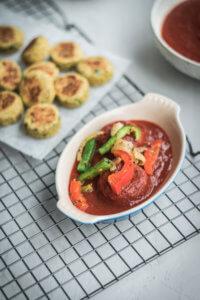 Plating Falafel Au Gratin: Falafel + marinara sauce + vegetable medley