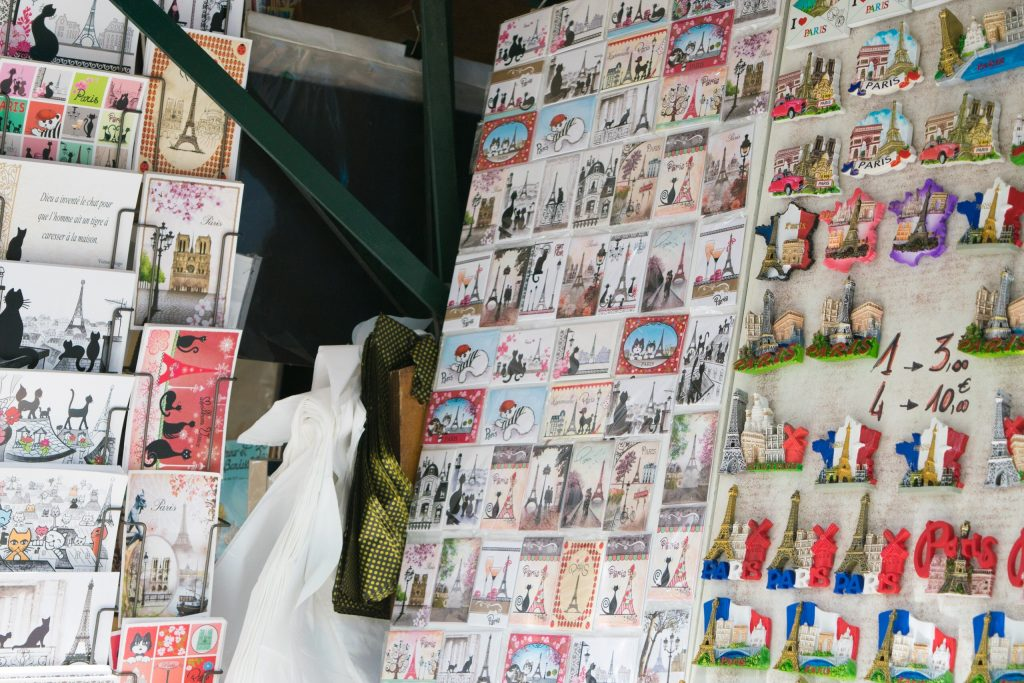Souvenirs - Postcards, magnets. Paris, France