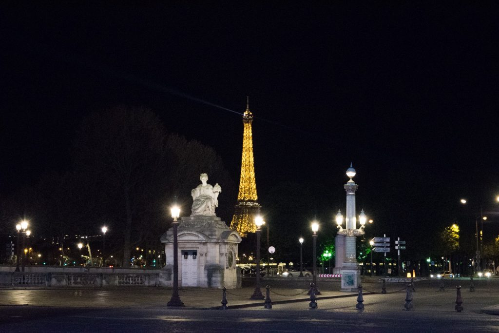 View of Eiffel Tower from Place de la Concorde, Paris, France