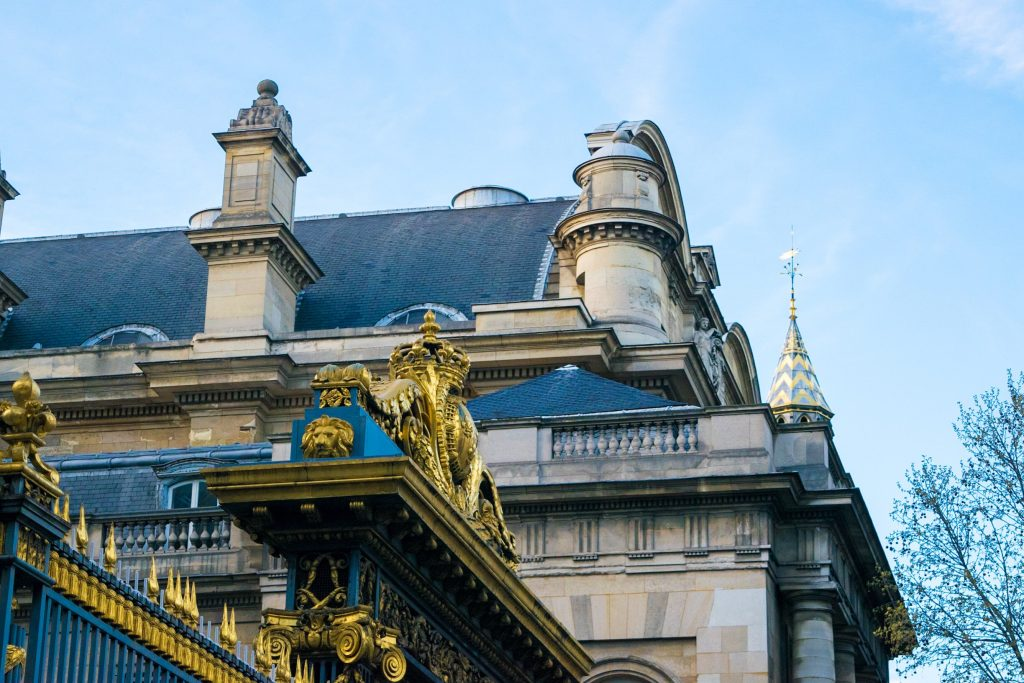 Gates of the palace of justice in Paris, France