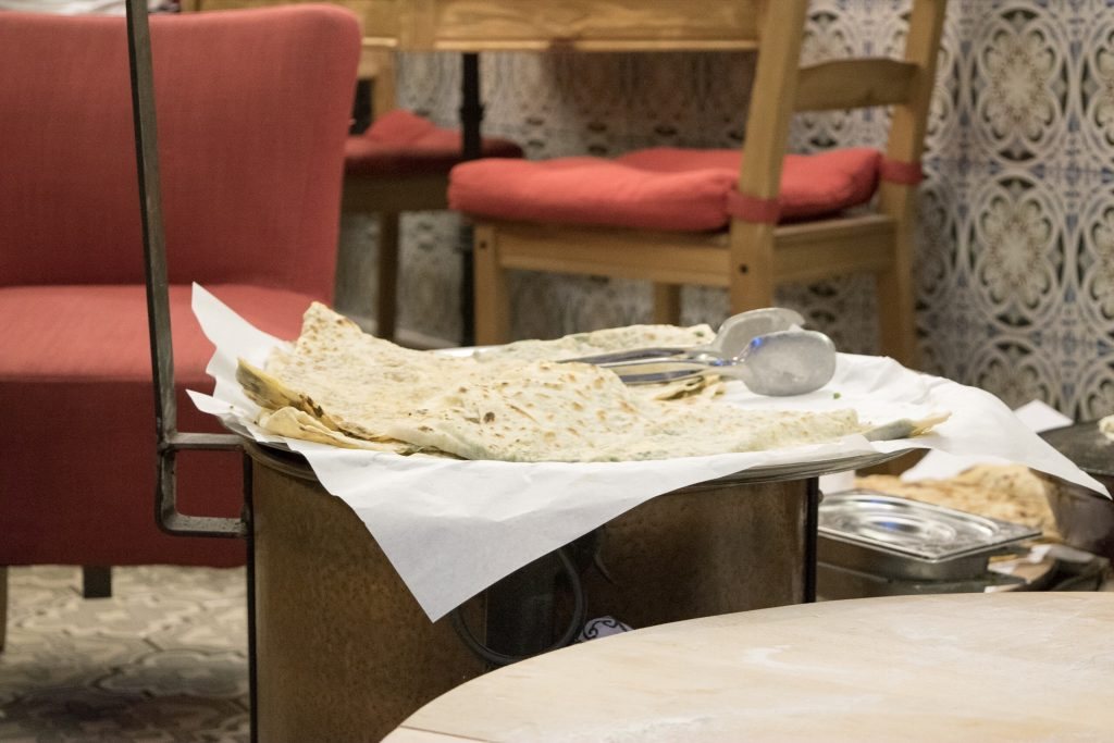 Gozleme; Anatolian flat bread, stuffed with spinach and cheese.