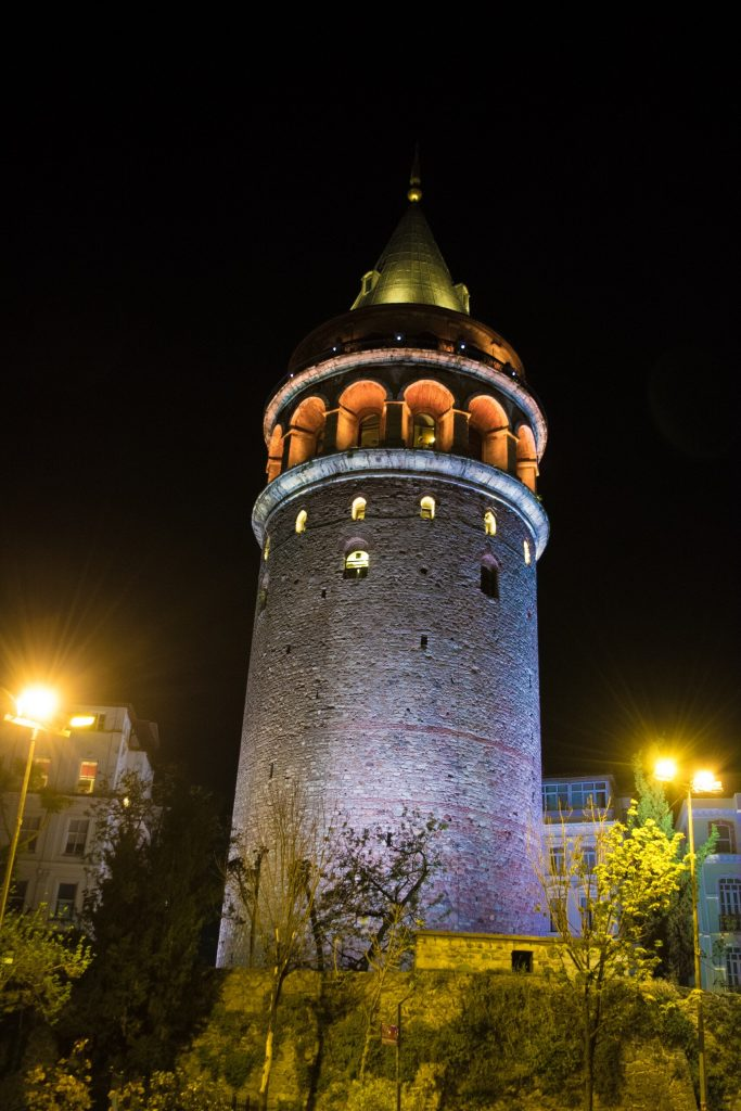 Galata Tower lit up in the night