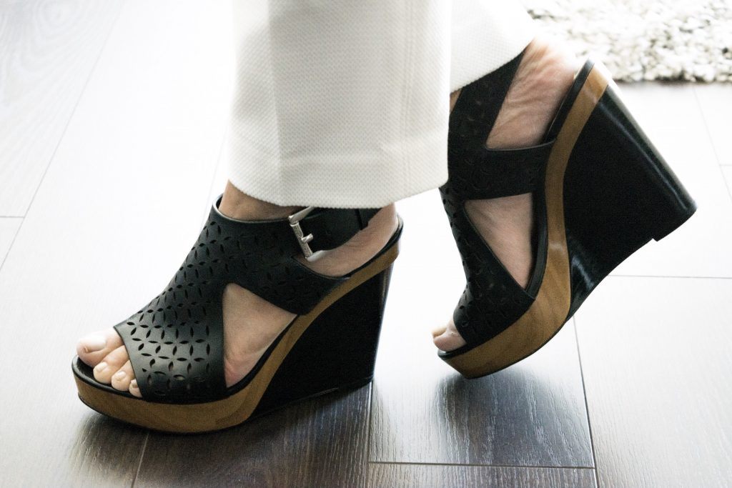 Black Platform Wedges With Ankle Strap