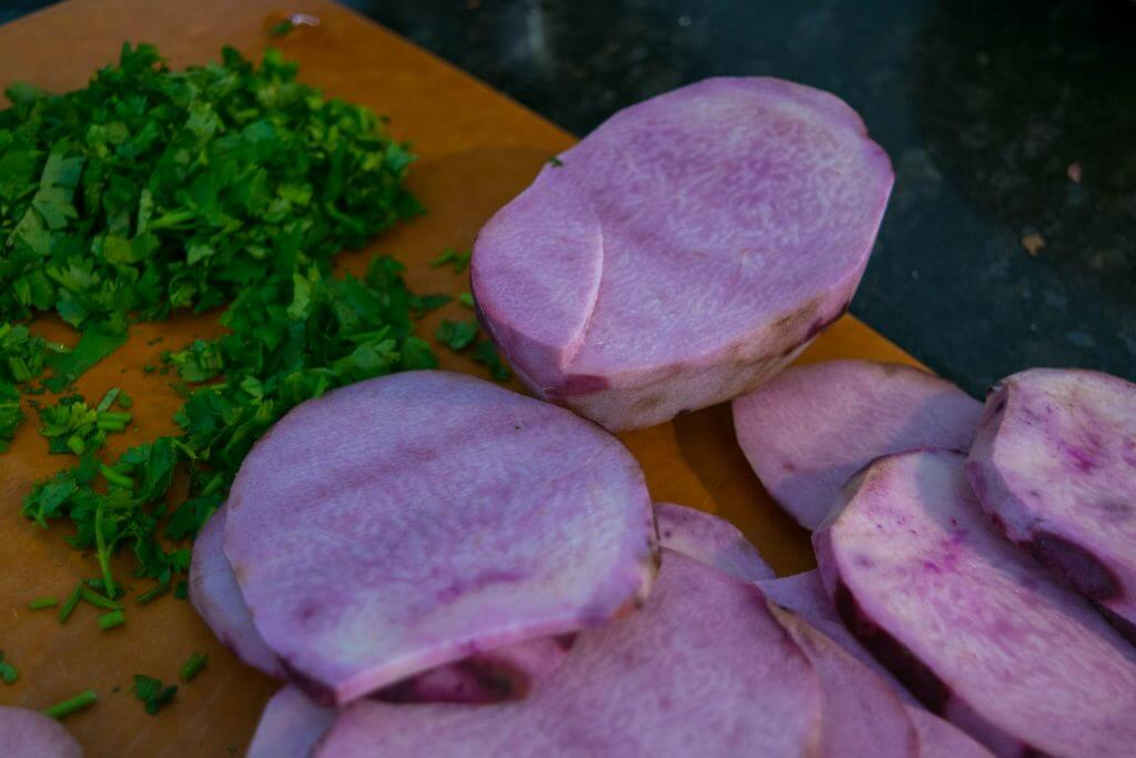 Ratalu (Kand) slices & Cilantro - NidhiPatel.com