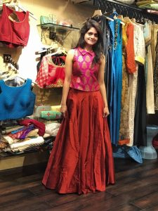 Outfit Trail: Indo-western rust skirt with brocade top - NidhiPatel.com