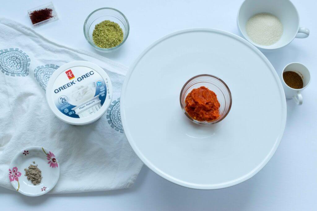 Flat lay : Sriracha Srikhand Ingredient