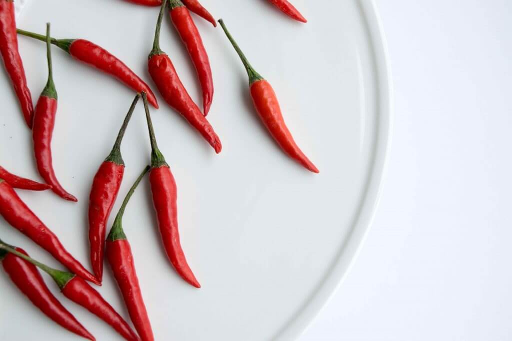 Red Thai chile peppers