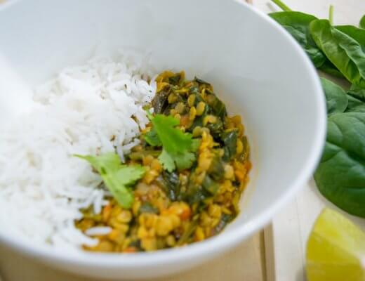 How to make: Spinach Masoor Daal with Basmati Rice