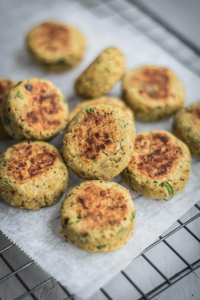 Pan-roasted Falafel bites.