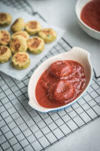 Plating Falafel Au Gratin: Falafel + marinara sauce.