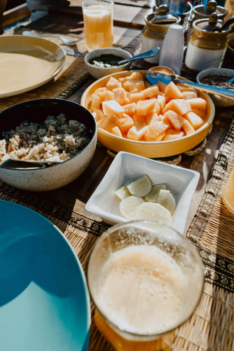 A typical breakfast at the LODGE at WAH; Patio at the Main Cottage.